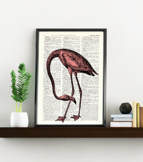 Flamingo Bird, Wall art, Wall decor,   Vintage Book sheet, Nursery wall art, Prints, Flamingo prints,  ANI174