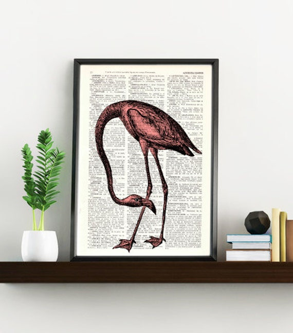 Flamingo Bird, Wall art, Wall decor, Digital prints animal, Giclée, Vintage Book sheet, Nursery wall art, Prints, Flamingo prints,  ANI174