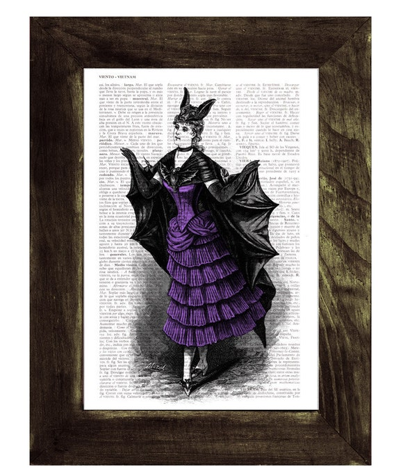 Victorian Violet Bat costume, Vampire girl, Print on Vintage Book Upcycled Dictionary Page TVH124