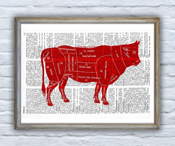 Christmas gifts for her Cuts of Beef Dictionary Book Print Altered art  Wall art print, beef cuts art, kitchen wall decor, art print ANI158