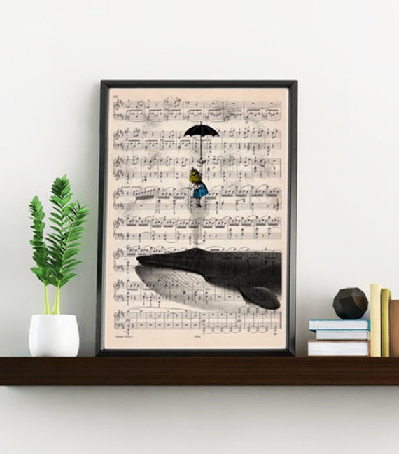 Alice on Whale from Alice in wonderland printed on vintage music sheet perfect for gifts  ALW026MSLb