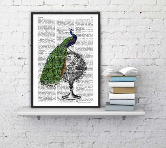 Christmas gifts for her Peacock over Zodiac, Wall art, Wall decor,   Vintage Book sheet, Nursery wall art, Prints, ANI147
