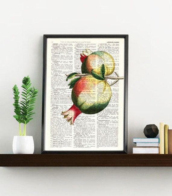 Pomegranate Wall decor giclee art print Wall Pomegranate Fruit Printed on Vintage Dictionary page, pomegranate BFL125