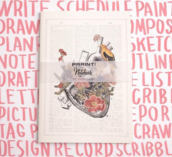 Christmas gifts Blank Notebook, A5 journal, Heart with bird Notebook, notebook, anatomy art, anatomy, science, medical student NBSKA110