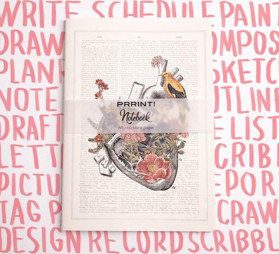 Blank Notebook, A5 journal, Heart with bird Notebook, notebook, anatomy art, anatomy, science, medical student gift, notepad, NBSKA110