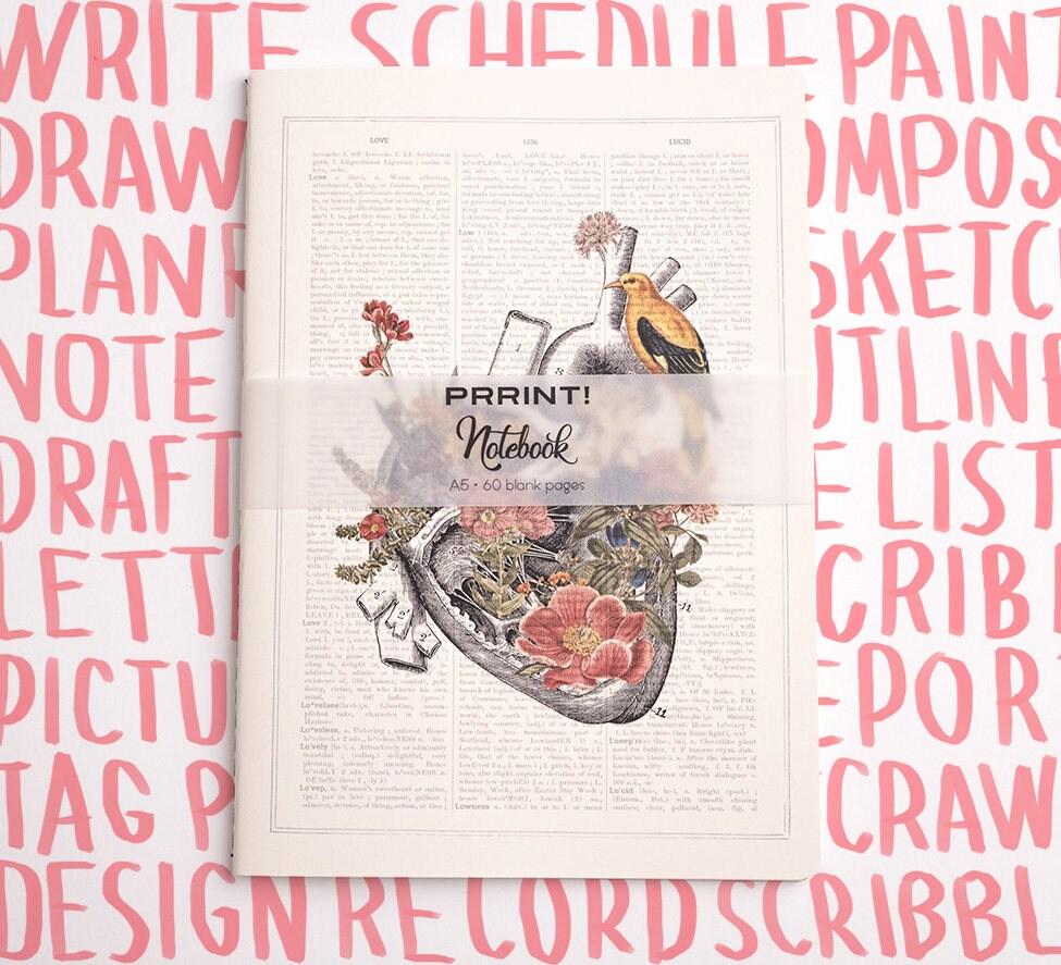 Blank Notebook A5 Journal Heart With Bird Notebook Notebook