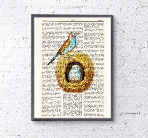 Birds in their nest, Wall art, Wall decor,   Vintage Book sheet, Nursery wall art, Prints, Bird prints, ANI048