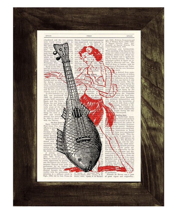 Christmas gifts for mom Ukelele Upcycled Dictionary Page Upcycled Book Art Upcycled  Print Vintage Art Print Ukelele Lady Print SEA028