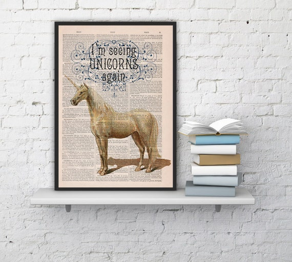 Fabulous Unicorn, Wall art, Wall decor,   Vintage Book sheet, Nursery wall art, Prints, Wholesale , ANI212