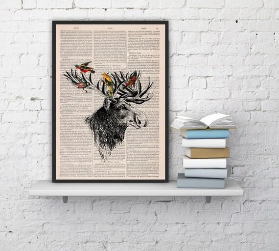 Christmas gifts for her Moose head and birds, Wall art, Wall decor,   Vintage Book sheet, Nursery wall art, Prints,  ANI204