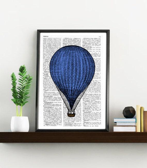 Blue Balloon Vintage Book Print Dictionary or Encyclopedia Page Print- Book print  Print on Vintage Book art TVH078