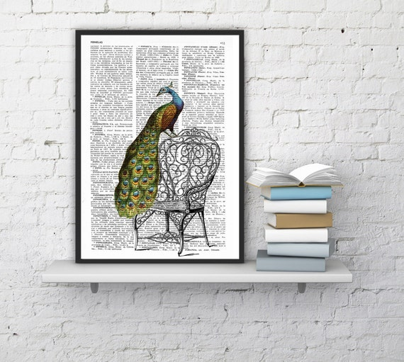 Christmas gifts for her Peacock taking a break, Wall art, Wall decor,   Vintage Book sheet, Nursery wall art, Prints, ANI151