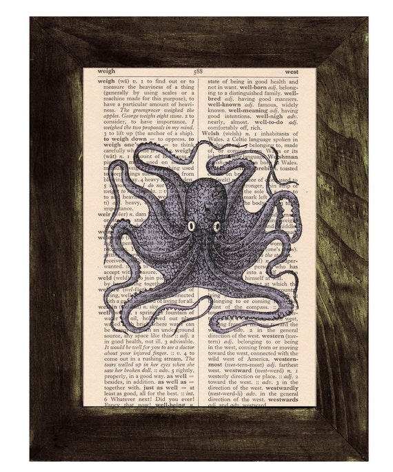 Christmas gifts for mom Octopus Book Print on Vintage Book SEA016