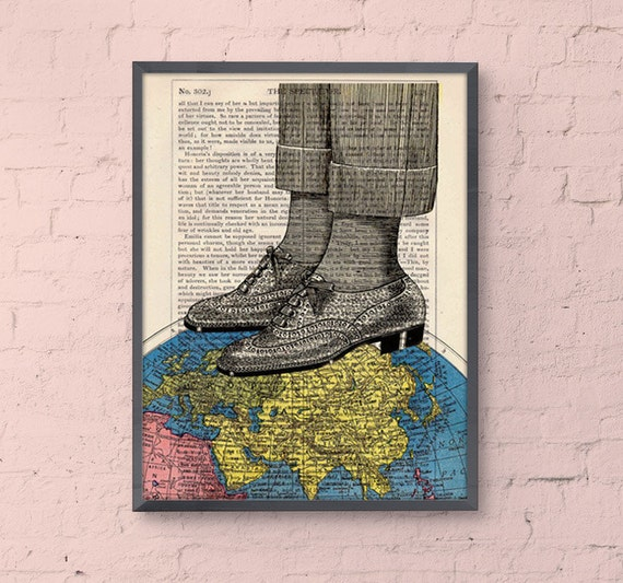 Christmas gifts for her World map shoes collage print, The world at your feet, Wall art decor Poster print upcycled art gift TVH119