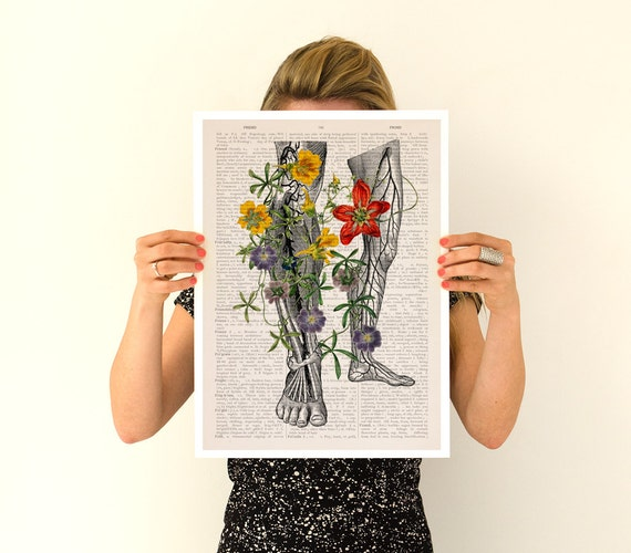 Flowery Legs Poster, Human anatomical art, Anatomy art, Wall art, Wall decor, Gift for doctor, Digital art, Wholesale, Science,  SKA096PA3