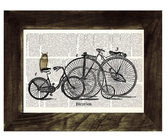 Christmas gifts for her Owl Upcycled Dictionary Page Art Print Upcycled Book Print Vintage Owl choosing bike Print on Vintage ANI031