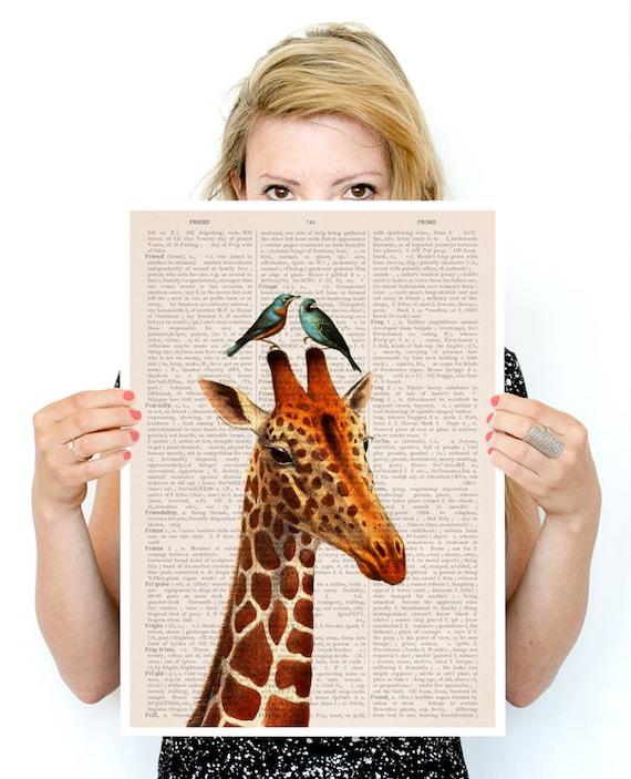 Christmas gifts for mom Honeymoon Giraffe poster, Wall art, Nursery art, Poster, Animal decor, Poster print, Nursery art,  ANI006PA3
