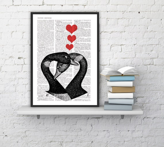 Geese in Love, Wall art, Wall decor,   Vintage Book sheet, Nursery wall art, Prints, Wholesale,   ANI157