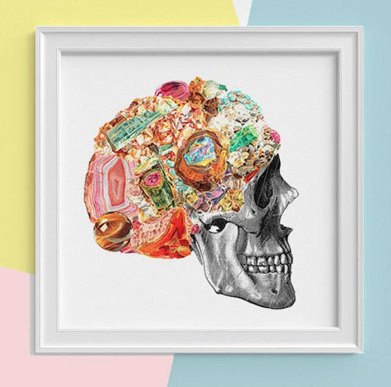 Christmas gifts Skull with minerals Print, wall art, Human anatomy print Science student gift Human skull art print, skull prints SKA119SQ1