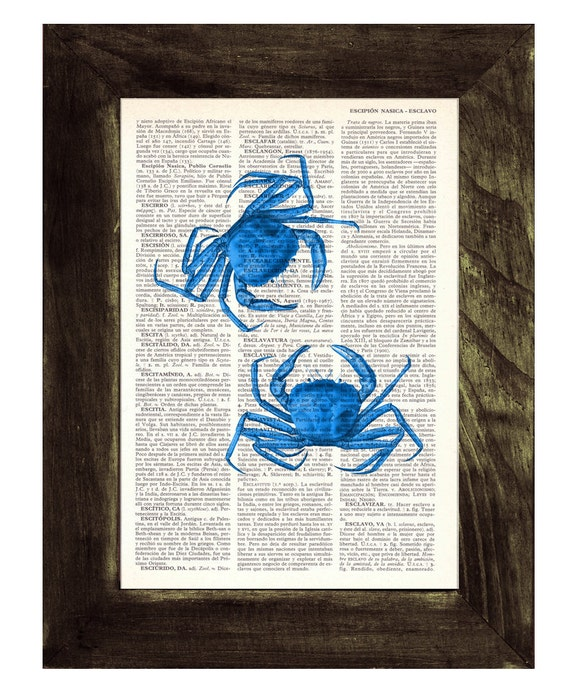 Art print, blue crabs, Book print Electric blue Crabs Print on Vintage Dictionary Book page Bathroom Wall art SEA106