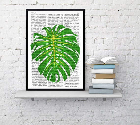 Wall art Botanical studio Monstera leaf illustration print on Vintage Dictionary page Tropical green Giclee BFL104