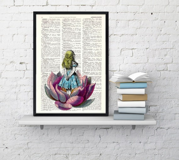 Alice in wonderland Alice in wonderland Looking for a butterfly Collage Print on Vintage Dictionary Book art ALW014