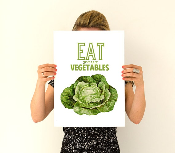 Eat your vegetables Poster print, Veggies Poster, Kitchen decor, Kithen art, Wall art Eco friendly,  TYQ037WA3