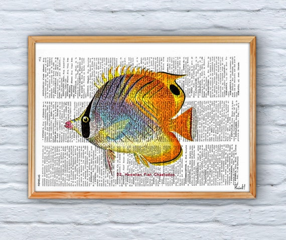 Christmas Sale Book Print Dictionary or Encyclopedia Page Print- Book print Hawaiian Fish(Chaetodon) Print on Vintage Bookart art SEA072