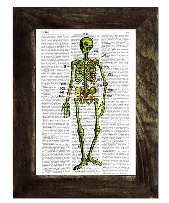 Christmas gifts for her Skeleton acupuncture points Print on Vintage Book Old book print SKA002