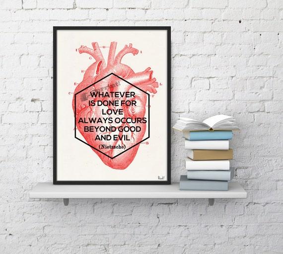 Christmas gifts for mom Nietzsche love quote, Anatomy art, Anatomical art, Wall art decor, Anatomy, Medical , Gift for doctor SKA182WA4