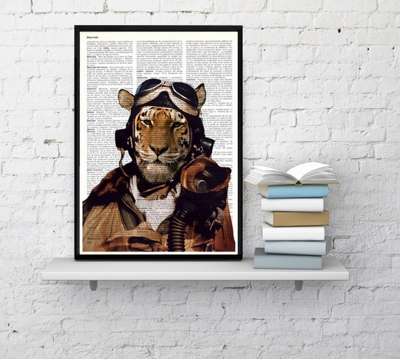 Air force Pilot tiger, Wall art, Wall decor, Digital prints animal, Giclée, Vintage Book sheet, Nursery wall art, Prints, Funny art  ANI162