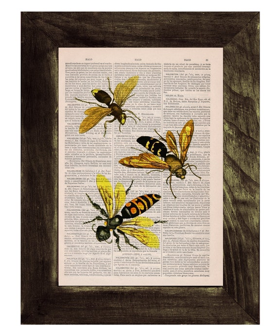 Queen and Bees Print on Dictionary Book page - Bees and honey Art on Upcycled Dictionary Book Art Home Decor BFL114