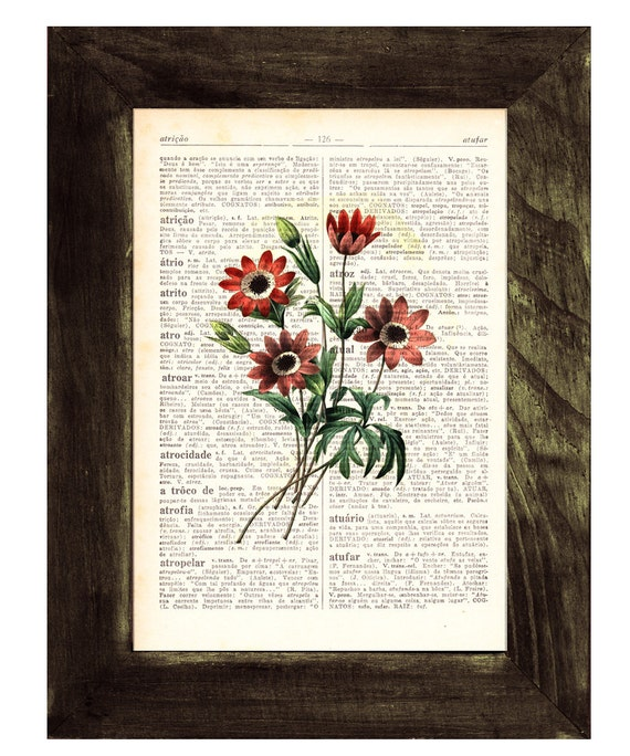 Christmas gifts for mom Wall art Vintage country side Illustration Daisies bouquet  collage Print on Vintage Book page Home decor BFL052