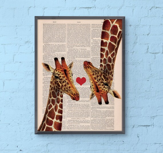 Christmas gifts for her Giraffes in love, Wall art, Wall decor,   Vintage Book sheet, Nursery wall art, Prints, Wholesale ,Gift, ANI009