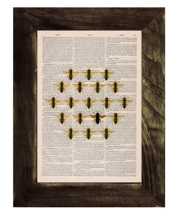 Christmas gifts Queen bee in a honeycomb cell illution Print on Dictionary Book page Butterfly Art on Upcycled Art Home Decor BFL116