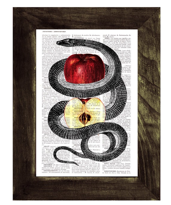 Red Temptation snake and apple Print on Vintage Dictionary Page the best choice as gifts for him ANI202b