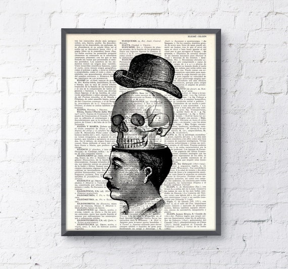 Wall art Victorian man and skull with hat collage print- You blow my head off collage book print, wall decor SKA013