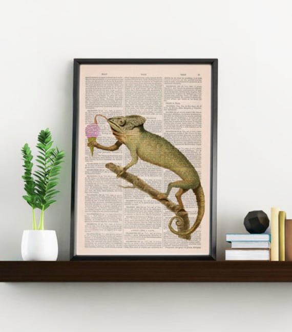 Chameleon licking an ice cream ball Home decor  Animal art ed on  wall art Chameleon wall art ANI223