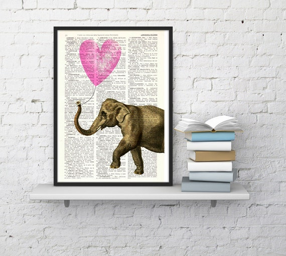 Christmas gifts for her Elephant art, Wall art, Wall decor,   Vintage Book sheet, Nursery wall art, Prints, Dorm Decor ANI217