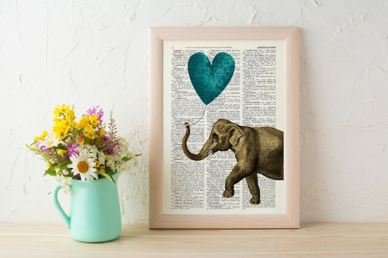 Elephant Wall art Wall decor   Vintage Book sheet Nursery image 0