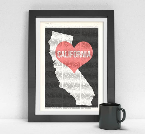 Christmas gifts for her California State United States of America Wall Art Print on Vintage Book TVH086