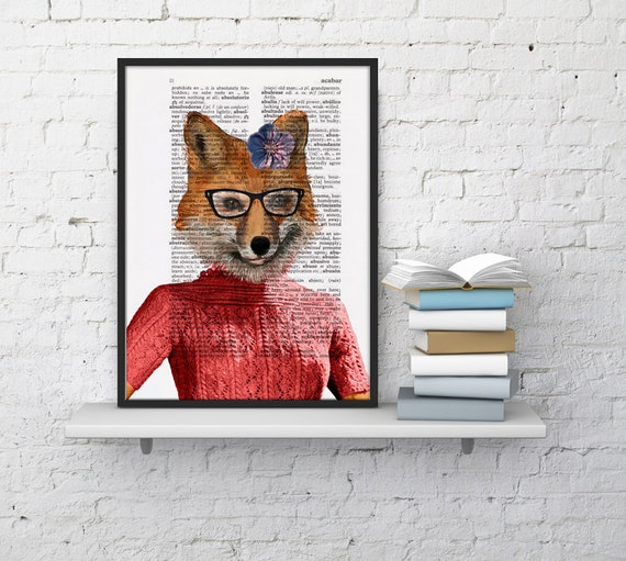 Christmas gifts for her Foxy girl portrait, Wall art, Wall decor,   Vintage Book sheet, Nursery wall art, Prints,  Unique Gift ANI171