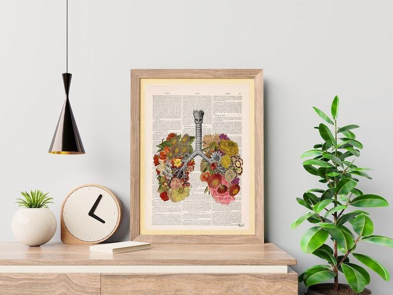 Christmas Gift Wall art print Flowery Lungs Print  Human image 1