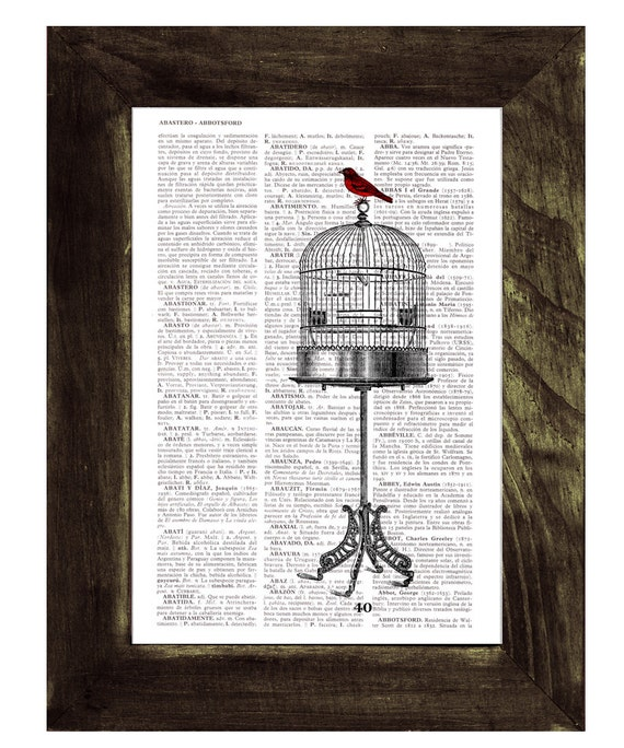Red Sparrow feels free wall art printed on Vintage Book Page the best choice for gifts  ANI197b