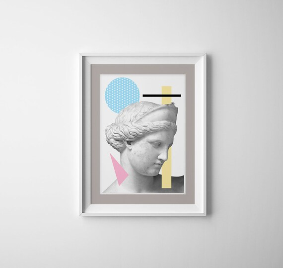 Greek head Statue. Classical art decoration, Revised classical art, Modern Greek style art, A3 Poster, Geometrical wall decor,  SKA227WA3