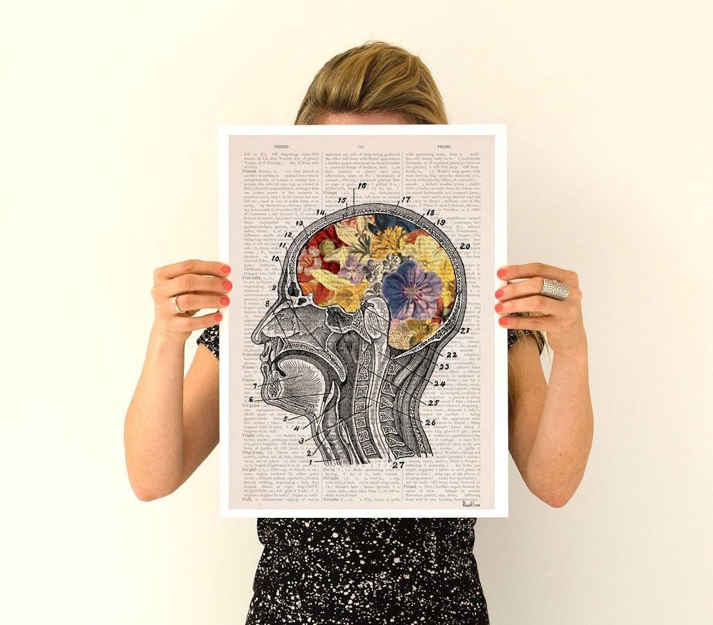 Flowery brain Poster, anatomy art, anatomy Giclee poster, brain art ...