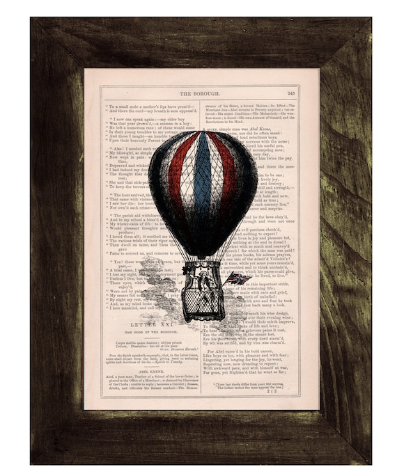 Christmas gifts for her Book print Hot air Balloon classic style n03 Print on Vintage Book - mixed media art TVH054