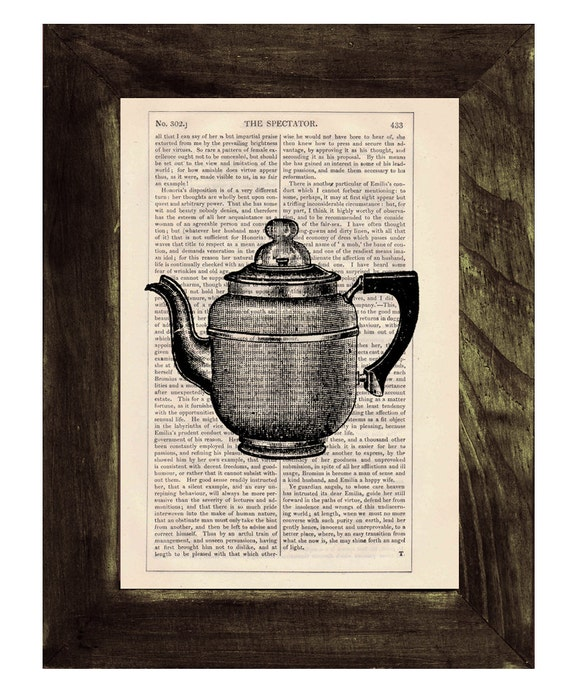 Christmas gifts for her Vintage gorgeous Coffee pot printed on dictionary book page- Upcycled art TVH111