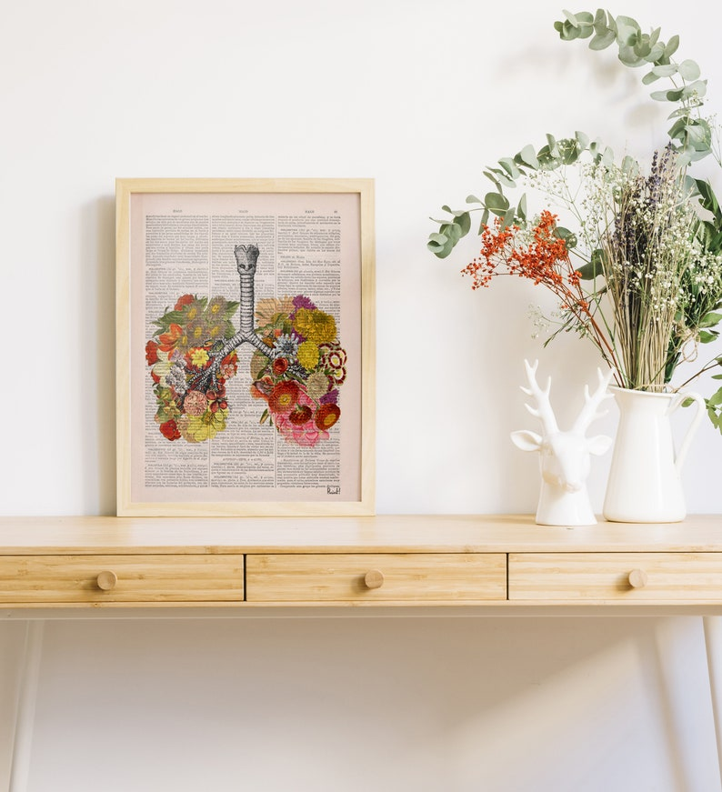 Wall art print Flowery Lungs Print  Anatomical Lungs  Human image 0