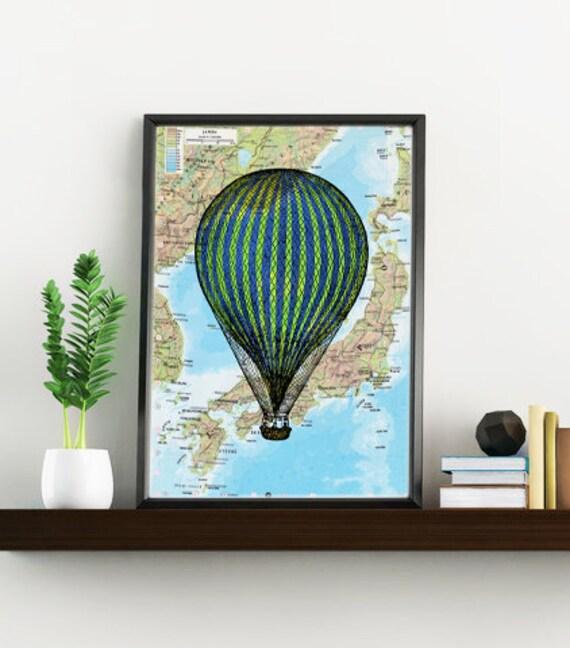Decorative art original Map, Stripped balloon Print over original Print on vintage original map, balloon art map, TVH079
